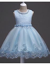 Недорогие -Дети Девочки Милая Однотонный С короткими рукавами Платье Белый