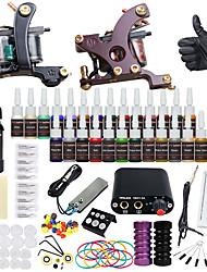 preiswerte -Solong Tattoo Tätowiermaschine Beginner Set - 2 pcs Tattoo-Maschinen mit 28 x 5 ml Tätowierfarben, Professionell Mini Stromversorgung Case Not Included 2 x-Legierung Tattoo Maschine für Futter und