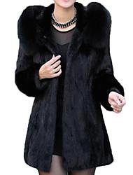 Недорогие -Жен. На выход Классический Длинная Пальто с мехом, Однотонный С отворотом Длинный рукав Полиэстер Черный XL / XXL / XXXL