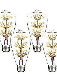 abordables -4pcs 3 W 200 lm E26 / E27 Ampoules à Filament LED ST64 47 Perles LED COB Décorative / Étoilé Blanc Chaud / Rouge / Bleu 85-265 V