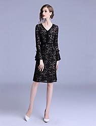 cheap -Women's Basic / Elegant Flare Sleeve Sheath Dress Lace