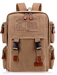 Недорогие -Универсальные Мешки холст рюкзак Молнии Черный / Кофейный / Хаки