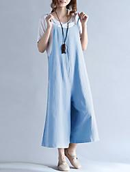 baratos -Mulheres Diário / Para Noite Decote Quadrado Azul Preto Perna larga Macacão, Sólido XXXL 4XL XXXXXL Algodão Sem Manga