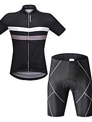 Недорогие -WOSAWE Муж. С короткими рукавами Велокофты и велошорты - Черный Велоспорт Шорты с защитой / Наборы одежды, Со светоотражающими полосками Горизонтальные полосы