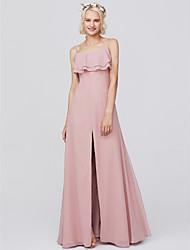 cheap -Sheath / Column Spaghetti Strap Floor Length Chiffon Bridesmaid Dress with Ruffles by LAN TING BRIDE® / Open Back
