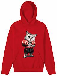 baratos -Homens Activo / Básico Calças - 3D Gato, Estampado Vermelho / Com Capuz / Esportes / Manga Longa / Outono / Inverno