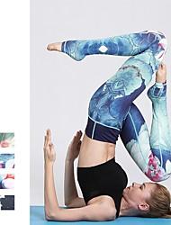 baratos -Mulheres Com pezinho Calças de Yoga - Verde, Azul, Ametista Esportes Floral Cintura Alta Calças Corrida, Fitness, Exercite-se Roupas Esportivas Respirável, Macio, Redutor de Suor Elasticidade Alta