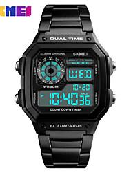 Недорогие -SKMEI Муж. Жен. Спортивные часы электронные часы Цифровой 30 m Защита от влаги Календарь Секундомер сплав Группа Цифровой На каждый день Мода Черный / Серебристый металл / Золотистый -