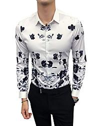 Недорогие -Муж. Рубашка Классический воротник Тонкие Цветочный принт / Контрастных цветов / Длинный рукав