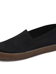 Недорогие -Жен. Комфортная обувь Сетка / Эластичная ткань Осень Мокасины и Свитер На плоской подошве Белый / Черный