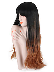 cheap -Synthetic Wig Wavy Ombre Middle Part Synthetic Hair 26 inch Party / Classic / Synthetic Dark Brown Gold Blonde Ombre / Ombre Wig Women's Long Capless Black / Brown / Yes