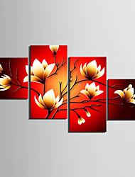 Недорогие -С картинкой Роликовые холсты Отпечатки на холсте - Натюрморт Цветочные мотивы / ботанический Modern 4 панели Репродукции