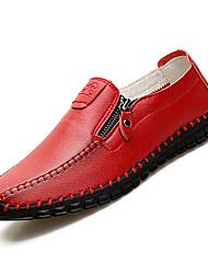 Недорогие -Муж. Комфортная обувь Полиуретан Осень На каждый день Мокасины и Свитер Нескользкий Черный / Коричневый / Красный