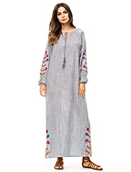 baratos -Mulheres Básico Reto / Abaya Vestido - Cordões / Bordado, Floral Longo