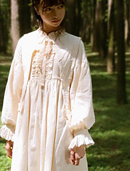 cheap -Classic Lolita Dress Classical Vintage Female Dress Cosplay Beige Juliet Sleeve Long Sleeve Midi Halloween Costumes