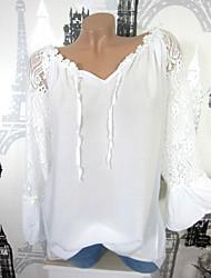 Недорогие -Жен. Рубашка V-образный вырез Тонкие Однотонный