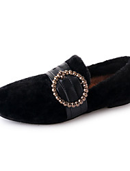 Недорогие -Жен. Комфортная обувь Искусственный мех Осень На каждый день Мокасины и Свитер На плоской подошве Круглый носок Черный / Розовый / Хаки