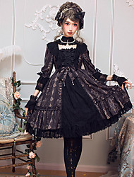cheap -Gothic Lolita Dress Classical Elegant Female Dress Cosplay Black / Brown Flare Sleeve 3/4 Length Sleeve Midi Halloween Costumes