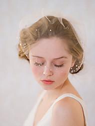 abordables -Une couche Style vintage / Style classique Voiles de Mariée Voiles Blush avec Couleur Unie / Cristaux / Stras Tulle