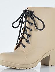 Недорогие -Жен. Резиновые сапоги ПВХ Наступила зима На каждый день Ботинки На толстом каблуке Круглый носок Ботинки Черный / Синий / Миндальный