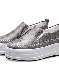 baratos -Mulheres Sapatos Confortáveis Camurça / Pele de Carneiro Outono Tênis Sem Salto Ponta Redonda Amarelo / Cinzento Claro