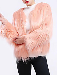 cheap -Women's Street chic / Sophisticated Fur Coat - Solid Colored, Pleated / Patchwork