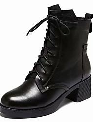 Недорогие -Жен. Армейские ботинки Полиуретан Осень На каждый день Ботинки На толстом каблуке Сапоги до середины икры Черный