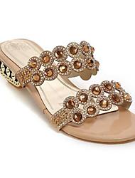 Недорогие -Жен. Комфортная обувь Синтетика Лето Сандалии На низком каблуке Золотой / Синий
