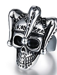 cheap -Men's Vintage Style 3D Band Ring Statement Ring - Titanium Steel Skull Vintage, Punk 9 / 10 Black For Halloween Daily Street