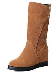 Недорогие -Жен. Fashion Boots Замша / Полиуретан Наступила зима Ботинки На плоской подошве Круглый носок Сапоги до середины икры Черный / Светло-желтый / Темно-коричневый