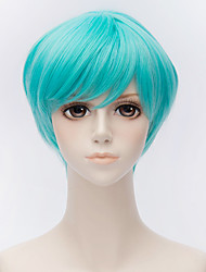 cheap -Cosplay Wigs / Synthetic Wig Straight Layered Haircut Synthetic Hair 10 inch Anime / Cosplay Blue Wig Men's / Women's Short Capless Light Blue