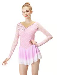 cheap -Figure Skating Dress Women's / Girls' Ice Skating Dress Pink Spandex High Elasticity Professional Skating Wear Fashion Long Sleeve Ice Skating / Winter Sports / Figure Skating