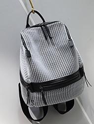 Недорогие -Жен. Мешки Полиэстер / Нейлон рюкзак Молнии Черный / Серебристо-серый