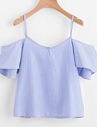 baratos -Mulheres Camiseta - Para Noite Listrado / Estampa Colorida Delgado