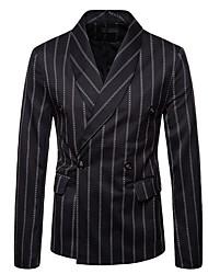 cheap -Men's Plus Size Slim Blazer-Striped Shawl Lapel / Long Sleeve