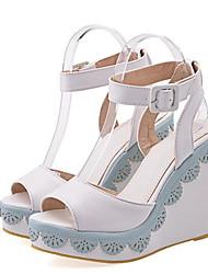 cheap -Women's Wedge Sandals PU(Polyurethane) Summer Sandals Wedge Heel Light Yellow / Light Purple / Pink