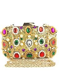 baratos -Mulheres Bolsas Poliéster / Liga Bolsa de Festa Lantejoulas / Detalhes em Cristal Floral Dourado