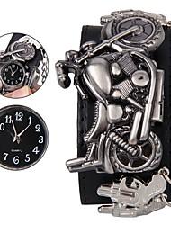 Недорогие -Муж. Наручные часы Цифровой Натуральная кожа Черный Повседневные часы Cool Аналоговый Череп Мода - Черный