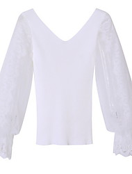 cheap -Women's Blouse - Solid Colored Lace Trims