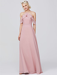 cheap -A-Line Spaghetti Strap Floor Length Chiffon Bridesmaid Dress with Ruffles by LAN TING BRIDE®