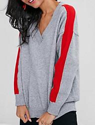 baratos -camisola de mangas compridas para senhora - decote em v de cor sólida