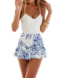 Недорогие -Жен. Повседневные / Пляж V-образный вырез Белый Комбинезоны, Цветочный принт L XL XXL Без рукавов / Сексуальные платья