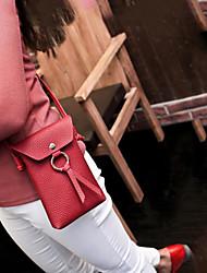 baratos -Mulheres Bolsas PU Telefone Móvel Bag Botões Preto / Rosa / Vinho
