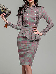 Недорогие -Жен. Офис Уличный стиль Тонкие Из двух частей Платье - Однотонный Рубашечный воротник Выше колена