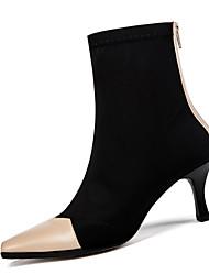 """Недорогие -Жен. Fashion Boots Микроволокно Осень На каждый день Ботинки Каблук """"Клеш"""" Сапоги до середины икры Черный / Миндальный / Контрастных цветов"""