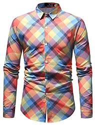 Недорогие -Муж. Рубашка Классический Геометрический принт / В клетку Тропический лист / Длинный рукав