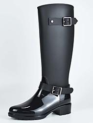 Недорогие -Жен. Резиновые сапоги ПВХ Наступила зима Ботинки На толстом каблуке Сапоги до середины икры Черный / Лиловый