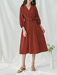 baratos -Mulheres Algodão balanço Vestido Decote V Médio
