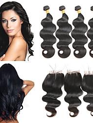 Недорогие -4 комплекта с закрытием Индийские волосы Естественные кудри 10A человеческие волосы Remy Накладки из натуральных волос Волосы Уток с закрытием 8-26 дюймовый Нейтральный Ткет человеческих волос