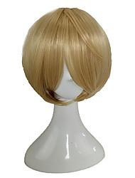 Недорогие -Парики из искусственных волос Маскарадные парики Прямой Стиль Стрижка каскад Без шапочки-основы Парик Блондинка Блондинка Искусственные волосы 10 дюймовый Муж. Милый стиль Косплей Жаропрочная
